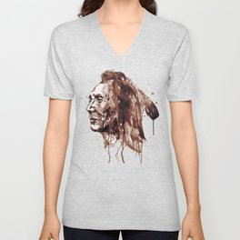Indian Warrior Sepia Tones Unisex V-Neck