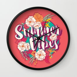 Summer vibes typography banner round design in tropical flower frame 002 Wall Clock