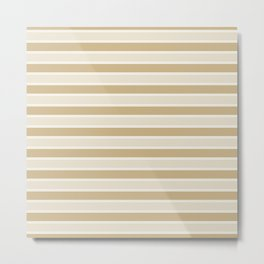 Large Horizontal Christmas Burnished Matte Gold and White Bed Stripes Metal Print
