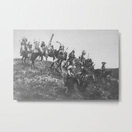 Oglala War Party Native American Oglala tribe in full headdress black and white photograph Metal Print