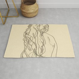 """Egon Schiele """"Standing nude girl with long hair"""" Rug"""