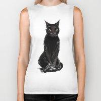 black cat Biker Tanks featuring Black Cat by Jaleesa McLean