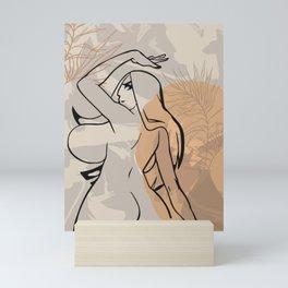 Big boobs & booty cartoon character line art sexy girl print naked woman drawing ass story template Mini Art Print