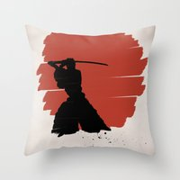 samurai Throw Pillows featuring Samurai by Purple Cactus