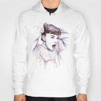 hepburn Hoodies featuring Audrey Hepburn Watercolor by Olechka