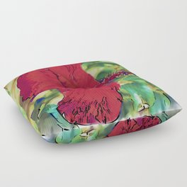 Red Hibiscus Flower Bloom Floor Pillow
