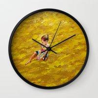 abigail larson Wall Clocks featuring Abigail dreaming by Eli Gross Art