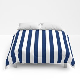 Navy and White Small Even Stripes Comforters