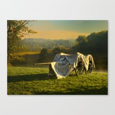 Civil War canon and limber in the early morning mist. Canvas Print