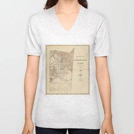 Vintage Map of Santa Fe County NM (1883) Unisex V-Neck