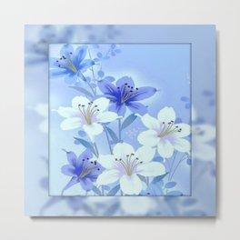 Periwinkle Mirror Floral Metal Print
