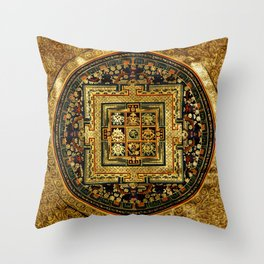 Gold Buddhist Psychedelic Mandala Throw Pillow