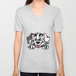 Happy Dalmatian Dog Cute Doggie Puppy Gift Unisex V-Neck