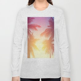 Coconut palm tree at tropical beach, colorful vintage tones Long Sleeve T-shirt