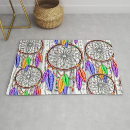 Dreamcatcher Rainbow Feathers Rug