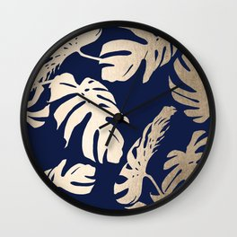 Simply Palm Leaves in White Gold Sands on Nautical Navy Wall Clock