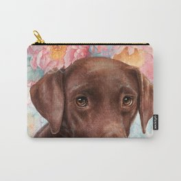 Flowers and Chocolate (chocolate lab dog watercolor portrait painting) Carry-All Pouch