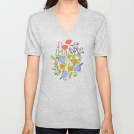 Birds and Wild Blooms Unisex V-Neck
