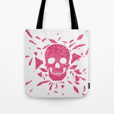 Girly Pink Glitter Abstract Skull Cool Photo Print Tote Bag