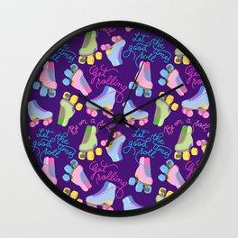 Roller Skates Pattern (Purple Background) Wall Clock