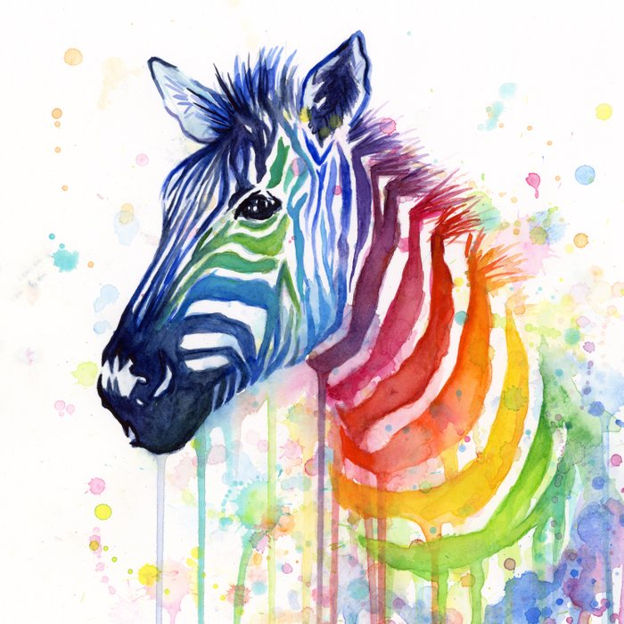 Zebra Watercolor Rainbow Animal Painting Ode to Fruit Stripes Duvet Cover