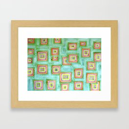 Multicolored Squares on Green Pattern  Framed Art Print