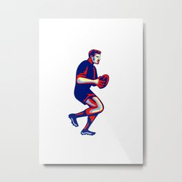Rugby Player Running Passing Ball Retro Metal Print