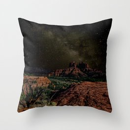 Cathedral Rock under Starlight Throw Pillow