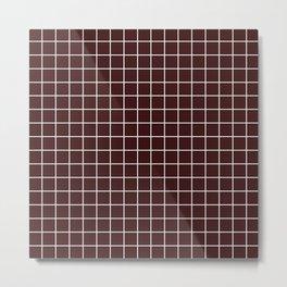 Dark sienna - purple color - White Lines Grid Pattern Metal Print