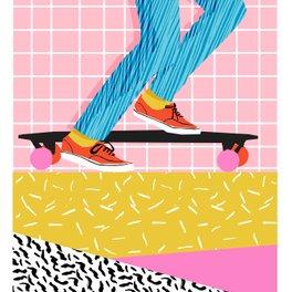 Notebook - Chavvy - memphis skateboarder long boarding retro patterns 1980's trend vibes socal cali beach life - Wacka