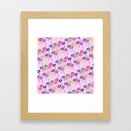 Lips Pops (Multi-colored Lips on Sticks) - Rasha Stokes Framed Art Print