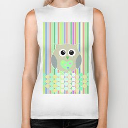 owl/colorful/bright/ Biker Tank