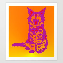 Screaming Kitten (Gradient) Art Print