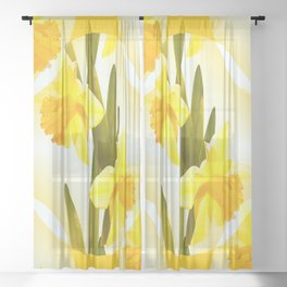 Yellow Spring Flowers with Green Leaf #decor #society6 #buyart Sheer Curtain