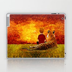 Cute Calvin and the lazy tiger Art painting Laptop & iPad Skin