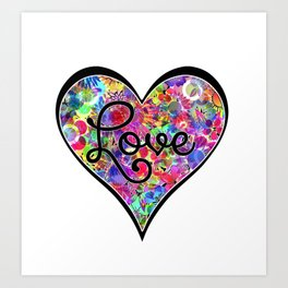 Love Letter Valentines Day Floral Heart Vibrant Rainbow Colorful Neon Art Print