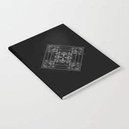 Black sacred geometry design with occult and wicca style Notebook