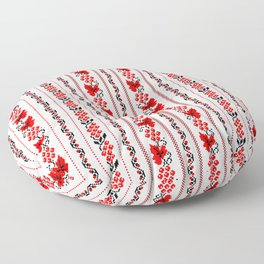 Ethno Ukrainian Pattern - Grape Guelder rose Oak - Symbol Vertical Floor Pillow