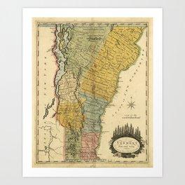 Vintage Map of Vermont (1814) Art Print