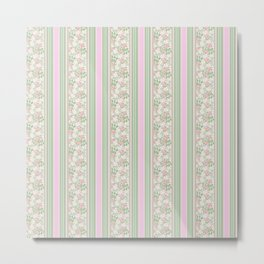 Pink Dogroses on Taupe in Stripes Metal Print