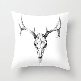 Deer Skull in Pencil Throw Pillow