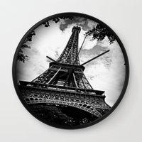 eiffel tower Wall Clocks featuring Eiffel tower by Amy Anderson