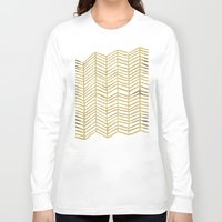 rose gold Long Sleeve T-shirts featuring Gold Herringbone by Cat Coquillette