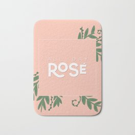 All Day Rosé - coral and white with green drawn leaves Bath Mat