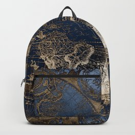 World Map Deep Blue and Gold Backpack