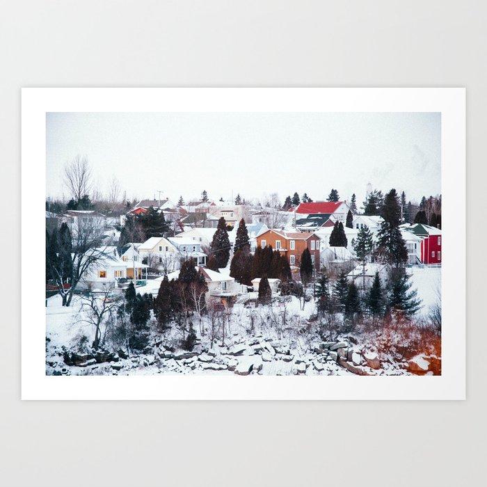 French Winter Village Art Print
