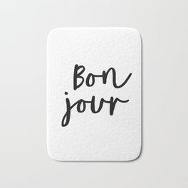 Bonjour black and white monochrome typography poster home wall decor bedroom minimalism Bath Mat