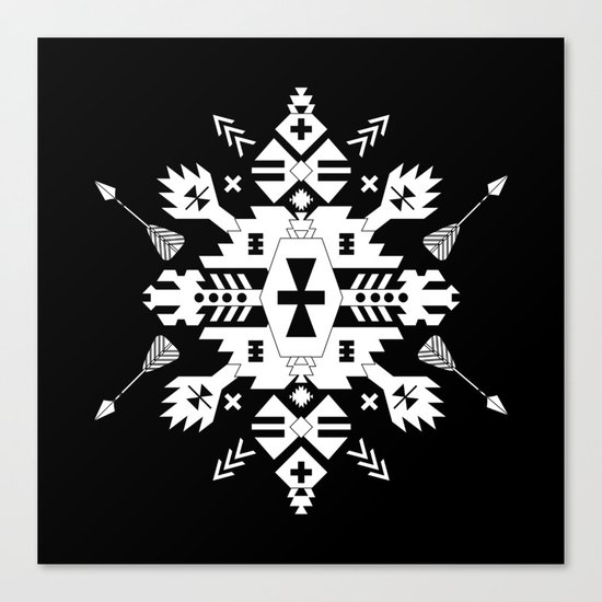 Black and White Ethnic Aztec Ornament Canvas Print