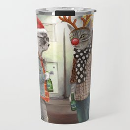 A Cats Night Out Christmas edition Travel Mug