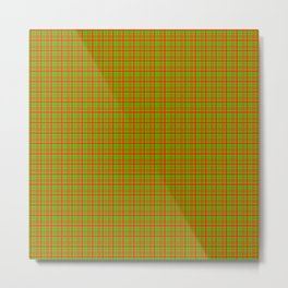 Red Lime Green Check Metal Print